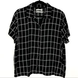 Urban Outfitters Black White Grid Button Down Top